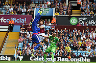 Sunderland goalkeeper Costel Pantilimon  saves from Rudy Gestede of Aston Villa. Barclays Premier League match, Aston Villa v Sunderland at Villa Park in Birmingham, Midlands on Saturday 29th August  2015.<br /> pic by Andrew Orchard, Andrew Orchard sports photography.