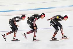 10-11-2017 NED: ISU World Cup, Heerenveen<br /> Team Pursuit men, China  A.  Kahanbai,  A.  Xiakaini,  H.  Shen,  D.  Tuersonghan,