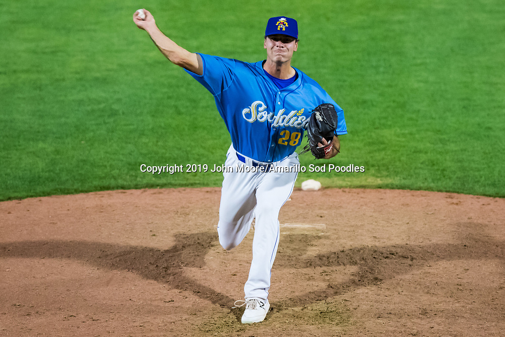 Amarillo Sod Poodles pitcher Elliot Ashbeck (28) pitches against the Tulsa Drillers during the Texas League Championship on Wednesday, Sept. 11, 2019, at HODGETOWN in Amarillo, Texas. [Photo by John Moore/Amarillo Sod Poodles]