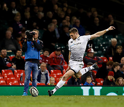 Ospreys' Dan Biggar kicks at goal<br /> <br /> Photographer Simon King/Replay Images<br /> <br /> Guinness PRO14 Round 21 - Cardiff Blues v Ospreys - Saturday 28th April 2018 - Principality Stadium - Cardiff<br /> <br /> World Copyright © Replay Images . All rights reserved. info@replayimages.co.uk - http://replayimages.co.uk