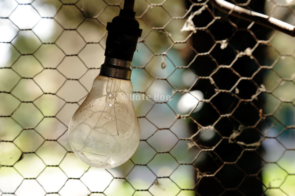 old style dusty light bulb against mess wire fencing