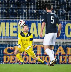 Falkirk's keeper Michael McGovern saves.<br /> Falkirk 1 v 1 Morton, Scottish Championship game today at The Falkirk Stadium.<br /> © Michael Schofield.