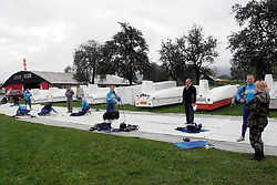 Irena Avbelj, several times World Champion in Freefall Style and Accuracy Landing and in Para-ski at training with her co-workers, on September 21, 2005, in Lesce-Bled, Slovenia. (Photo by Vid Ponikvar / Sportal Images)