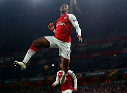 Danny Welbeck of Arsenal celebrates scoring his second goal to make it 3-1 - Mandatory by-line: Robbie Stephenson/JMP - 15/03/2018 - FOOTBALL - Emirates Stadium - London, England - Arsenal v AC Milan - UEFA Europa League Round of 16, Second leg