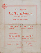 Interprovincial Railway Cup Football Cup Final,  17.03.1955, 03.17.1955, 17th March 1955, referee R Staiclium, Connacht 1-10, Leinster 1-14.Interprovincial Railway Cup Hurling Cup Final,  17.03.1955, 03.17.1955, 17th March 1955, referee S O Cleirig, Leinster 2-09, Munster 3-10,