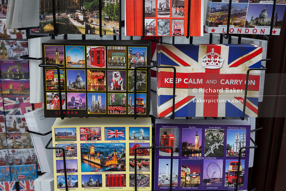A detail of a rack of postcards showing a matrix of scenes and cityscapes of London on 10th August 2017, in London, England.