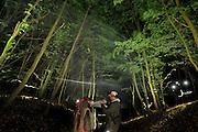 Fledermausexperte Dirk Karoske aus Stralsund mit seinem Team nehmen eine gefangene Fledermaus aus dem Netz das Fangnetz