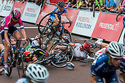 A major crash develops near the start/finish line and leave several riders painfully injured in the pile up. The Womens Grand Prix - which is won by Barbara Guarischi. Prudential RideLondon a festival of cycling, with more than 95,000 cyclists, including some of the world's top professionals, participating in five separate events over the weekend of 1-2 August.