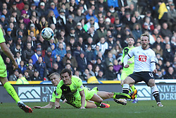 Johnny Russell of Derby County scores his sides second goal - Mandatory byline: Jack Phillips/JMP - 05/03/2016 - FOOTBALL - iPro Stadium - Derby, England - Derby County v Huddersfield Town - Sky Bet Championship