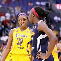 03 August 2014: Los Angeles Sparks forward Nneka Ogwumike (30) talks to Connecticut Sun forward Chiney Ogwumike (13) during the Los Angeles Sparks 70-69 victory over the Connecticut Sun, at the Staples Center, Los Angeles, California, USA.