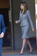Queen Letizia of Spain posed for photographers during a Chilean President State Visit at Zarzuela Palace on October 29, 2014 in Madrid