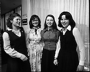 Seafood Cook in Rosslare 07/05/1976.05/07/1976.7th May 1976.Pictured left to right, Siobhan Neeson, St. Louis Convent, Monaghan, (2nd prize), Clare Kenny, Vocational School, Ballymahon, Co. Longford, Jacqueline Egan, St. Joseph of Cluny School, Ferbane, Co. Offaly, Judy Tormey, St. Joseph's College, Summerhill, Athlone, Co. Westmeath, (3rd prize).