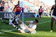 England's Sam Aspland-Robinson scores his first half try. in the corner .World Rugby U20 Championship 2016,  Semi Final match,  Match 24  , England U20's  v South Africa U20's at the Manchester city Academy Stadium in Manchester, Lancs on Monday 20th June 2016, pic by  Andrew Orchard, Andrew Orchard sports photography.