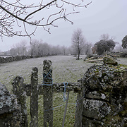 The stone walled pastures of the Mirandese Plateau in a cold winter morning.