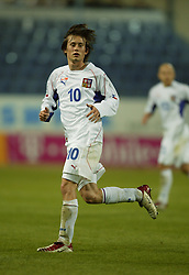TEPLICE, CZECH REPUBLIC - Wednesday, April 30, 2003: Czech Republic's Tomas Rosicky in action against Turkey during a friendly match at the Teplice Stadion Na Stinadlech. (Pic by David Rawcliffe/Propaganda)