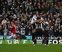 Photo: Andrew Unwin.<br /> Newcastle United v Manchester United. The Barclays Premiership. 01/01/2007.<br /> Newcastle celebrate David Edgar's goal.