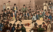 Tom, Jerry and Logic, backing Tommy the Sweep at the Royal Cockpit. The all male audience is focused on the cockfight in the ring.  At top right men are betting on the outcome of the match. Illustration by (Isaac) Robert Cruikshank and George Cruikshank Snr. for 'Life in London' by Pierce Egan (London, 1821). Aquatint.