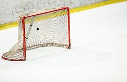 Puck in a Lustenau's net during Ice Hockey match between HK SZ Olimpija and EHC Alge Elastic Lustenau in Semifinal of Alps Hockey League 2018/19, on April 1, 2019, in Arena Tivoli, Ljubljana, Slovenia. Photo by Vid Ponikvar / Sportida