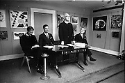 17/09/1968<br /> 09/17/1968<br /> 17 September 1968<br /> Glenstal Abbey School Painting Exhibition opened at the Little Theatre in Brown Thomas, Grafton Street, Dublin.  Picture shows (l-r): Fr Celestine, Glenstal Abbey; Mr W. Hedderman, President Glenstal Abbey and Boys Association; Rev Augustine O'Sullivan, Father Abbot, Glenstal Abbey School and Mr J.J. Hickey, Director and Secretary Brown Thomas Ltd. at the opening of the exhibition of pupils art works.