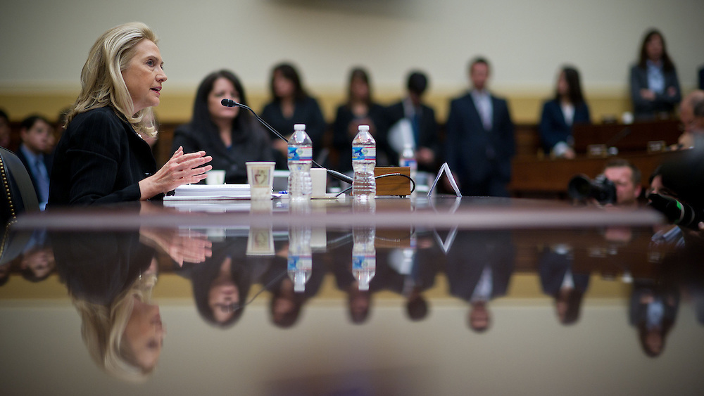 on Thursday, Oct. 27, 2011 in Washington. (Photo by Jay Westcott/Politico)Sec. of State Hilary Clinton appears before the House Foreign Affairs Committee on Thursday, Oct. 27, 2011 in Washington. (Photo by Jay Westcott/Politico)