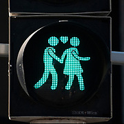 Assortment of Pedestrian lights at zebra crossings in Vienna Austria