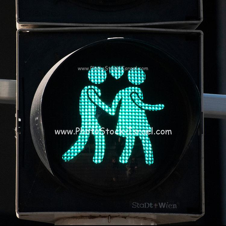 Assortment of Pedestrian lights at zebra crossings in Vienna Austria
