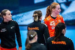 Nikita van der Vliet of Netherlands, Dione Housheer of Netherlands during the Women's EHF Euro 2020 match between Netherlands and Germany at Sydbank Arena on december 14, 2020 in Kolding, Denmark (Photo by RHF Agency/Ronald Hoogendoorn)