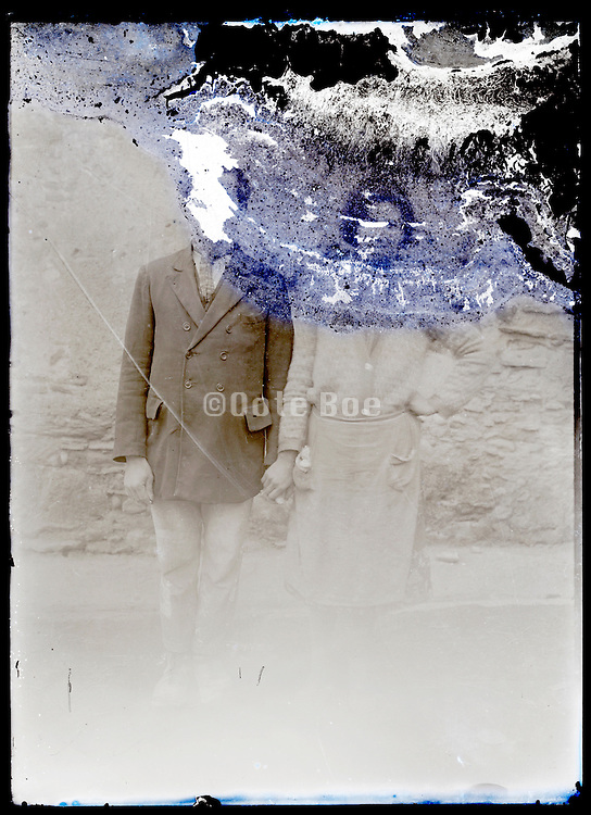 eroding glass plate photo of young couple