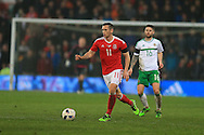 Andrew Crofts of Wales in action.Wales v Northern Ireland, International football friendly match at the Cardiff City Stadium in Cardiff, South Wales on Thursday 24th March 2016. The teams are preparing for this summer's Euro 2016 tournament.     pic by  Andrew Orchard, Andrew Orchard sports photography.