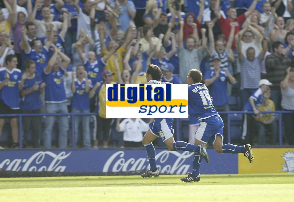 Photo: Aidan Ellis.<br /> Leicester City v Watford. Coca Cola Championship. 25/08/2007.<br /> Leicester's James Wesolowski chase third goal scorer Alan Sheehan