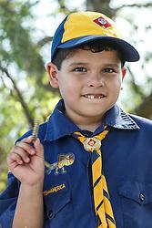 Boy in Cub Scout uniform examining rattlesnake rattler, Mitchell Lake Audubon Center, San Antonio, Texas, USA.