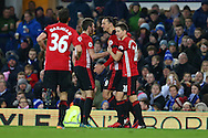 Zlatan Ibrahimovic of Manchester United (2r) celebrates with his teammates after he scores his teams 1st goal. Premier league match, Everton v Manchester United at Goodison Park in Liverpool, Merseyside on Sunday 4th December 2016.<br /> pic by Chris Stading, Andrew Orchard sports photography.