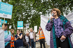 London, UK. 18 June, 2019. Barbara Winton, daughter of the Kindertransport founder Sir Nicholas Winton, joins Safe Passage at a demonstration in Parliament Square to demand that the Government resettle 10,000 unaccompanied refugee children over 10 years. As part of Lord Dubs' 'Our Turn' campaign, councils around the UK have already pledged places for over 1,100 children if the Government should make a new resettlement commitment.