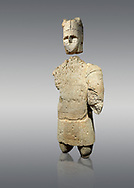 9th century BC Giants of Mont'e Prama  Nuragic stone statue of an archer, Mont'e Prama archaeological site, Cabras. Museo archeologico nazionale, Cagliari, Italy. (National Archaeological Museum) - Grey Background .<br />  <br /> If you prefer to buy from our ALAMY STOCK LIBRARY page at https://www.alamy.com/portfolio/paul-williams-funkystock/nuragic-artefacts.html - Type intoo the LOWER SEARCH WITHIN GALLERY box to refine search by adding background colour, etc<br /> <br /> Visit our NURAGIC PHOTO COLLECTIONS for more photos to download or buy as wall art prints https://funkystock.photoshelter.com/gallery-collection/Nuragic-Nuraghe-Towers-Nuragic-Artefacts-of-Sardinia-Pictures-Images/C0000M6ZtTuHVsSo