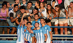 October 8, 2018 - Buenos Aires, ARGENTINA - 181009 2018 Youth Olympic Games, Day 3: The Argentinan ARG players celebrate with the crowd after defeating Vanautu VAN in the Preliminary Pool A match in the Hockey5s Mens Tournament at the Hockey Field, Youth Olympic Park during The Youth Olympic Games, Buenos Aires, Argentina, Monday 8th October 2018. Photo: Ivo Gonzalez for OIS/IOC. Handout image supplied by OIS/IOC  (Credit Image: © Ivo Gonzalez For Ois/Bildbyran via ZUMA Press)