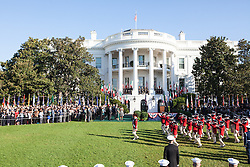 October 18, 2016 - Washington, DC, United States - President Barack Obama and First Lady Michelle Obama welcomed Prime Minister Matteo Renzi and Mrs. Agnese Landini of Italy to the White House for an Official Visit on the South Lawn  of the White House in Washington, D.C., U.S., on Tuesday, Oct. 18, 2016.. This was the last Official State Visit for the Obama administration. (Credit Image: © Cheriss May/NurPhoto via ZUMA Press)