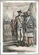 Seypoys, native troops employed by East India Company. It was the Sepoys who began the Indian (Sepoy) Mutiny 1857-1859 which brought about the transfer of government from the Company to the British Crown. 19th century hand-coloured etching