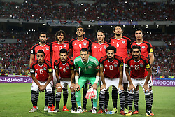 ALEXANDRIA, Oct. 9, 2017  Egyptian players pose for a group photo before the 2018 FIFA World Cup qualification match between Egypt and Congo at the Borg El-Arab Stadium in Alexandria, Egypt, Oct. 8, 2017. Egypt won 2-1 and qualified to the World Cup finals. (Credit Image: © Ahmed Gomaa/Xinhua via ZUMA Wire)