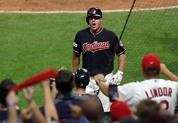 October 6, 2017 - Cleveland, OH, USA - The Cleveland Indians' Jay Bruce celebrates his solo home run against the New York Yankees to tie the game in the eighth inning during Game 2 of the American League Division Series, Friday, Oct. 6, 2017, at Progressive Field in Cleveland. (Credit Image: © Mike Cardew/TNS via ZUMA Wire)