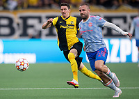 BERN, SWITZERLAND - SEPTEMBER 14: Vincent Sierro of BSC Young Boys and Luke Shaw of Manchester United during the UEFA Champions League group F match between BSC Young Boys and Manchester United at Stadion Wankdorf on September 14, 2021 in Bern, Switzerland. (Photo by FreshFocus/MB Media)