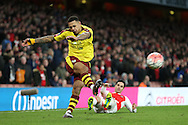Andre Gray of Burnley crossing the ball. The Emirates FA cup, 4th round match, Arsenal v Burnley at the Emirates Stadium in London on Saturday 30th January 2016.<br /> pic by John Patrick Fletcher, Andrew Orchard sports photography.