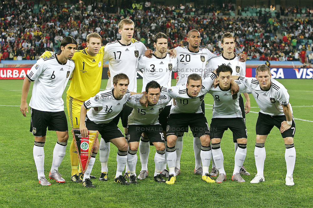 07-07-2010 VOETBAL: FIFA WORLDCUP 2010 SPANJE - DUITSLAND: DURBAN<br /> Halve finale WC 2010 - Spanje wint met 1-0 van Duitsland / Sami Khedira ( VFB Stuttgart #06 ) Manuel Neuer ( FC Schalke 04 #01 ) Per Mertesacker ( Werder Bremen #17 ) Arne Friedrich ( Hertha BSC #03 ) Jerome Boateng ( Hamburger SV #20 ) Miroslav Klose ( FC Bayern Muenchen #11 ) v.Reihe v.li Philipp Lahm ( FC Bayern Muenchen #16 ) Piotr Trochowski ( Hamburger SV #15 )Lukas Podolski ( 1. FC Koeln #10 ) Mesut Özil / Oezil ( Werder Bremen #08 ) Bastian Schweinsteiger ( FC Bayern Muenchen #07 )<br /> ©2010-FRH- NPH/ Kokenge (Netherlands only)