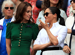 File photo dated 13/07/19 of the Duchess of Cambridge and the Duchess of Sussex attending the Wimbledon Championships at the All England Lawn Tennis and Croquet Club, Wimbledon. The Duchess of Cambridge celebrates her 38th birthday today.