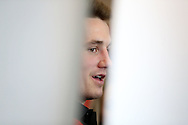 Wales rugby player Jonathan Davies speaks to the press at the Wales Rugby team media session at the Vale Resort, Hensol near Cardiff, South Wales on Tuesday 2nd February2016. The team are preparing for the start of this years RBS Six nations championship.<br /> pic by  Andrew Orchard, Andrew Orchard sports photography.