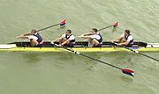 Seville, Andalusia, SPAIN<br /> <br /> 2002 World Rowing Championships - Seville - Spain Sunday 15/09/2002.<br /> <br /> Rio Guadalquiver Rowing course<br /> <br /> USA M4- Bow. Mark  FLICKINGER, Lucas MC GEE, Beau HOOPMAN and Jason READ,<br /> <br /> [Mandatory Credit:Peter SPURRIER/Intersport Images]