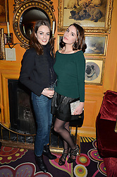 Left to right, LADY VIOLET MANNERS and actress GENEVIEVE GAUNT at an exclusive performance by Mark Ronson at Annabel's, Berkeley Square, London on 2nd March 2016.
