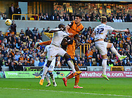 Wolves captain Danny Batth heads at goal during the Sky Bet Championship match between Wolverhampton Wanderers and Leeds United at Molineux, Wolverhampton, England on 6 April 2015. Photo by Alan Franklin.