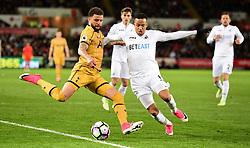 Martin Olsson of Swansea City closes down Kyle Walker of Tottenham Hotspur - Mandatory by-line: Alex James/JMP - 05/04/2017 - FOOTBALL - Liberty Stadium - Swansea, England - Swansea City v Tottenham Hotspur - Premier League