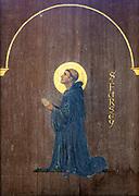 Saint Fursey picture inside, church of St Michael South Elmham, Suffolk, England, UK