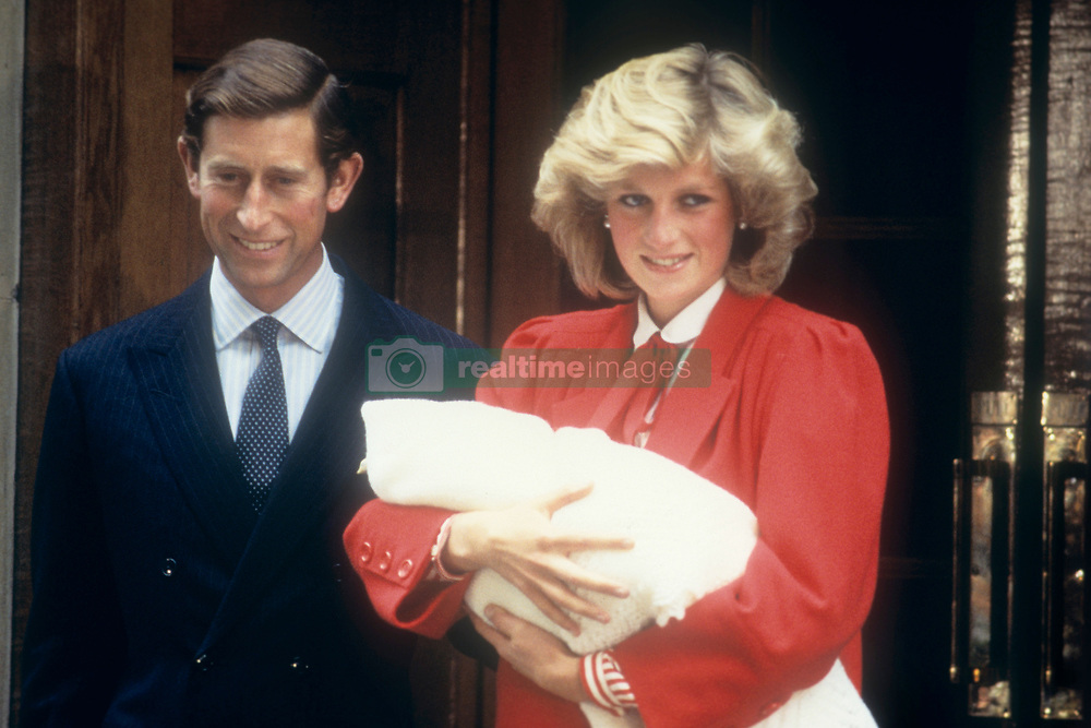 File photo dated 6/09/1984 of the Prince and Princess of Wales leaving hospital with their new baby Prince Henry (Harry). The Duke of Sussex has announced that the Duchess of Sussex has given birth to a baby son weighing 7lbs 3oz.
